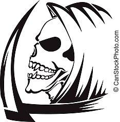 tatouage, vendange, reaper, faux, sinistre, engraving.