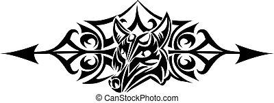 tatouage, vendange, tribal, loup, conception, engraving.