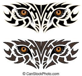 tatouage, yeux, animal, tribal