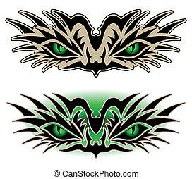 tatouage, yeux, reptile, tribal