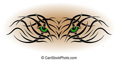 tatouage, yeux, tribal