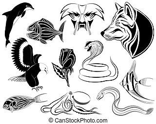tatouages, ensemble, divers