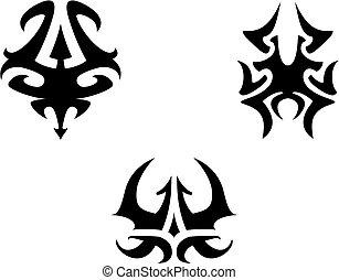 tatouages, tribal, ensemble