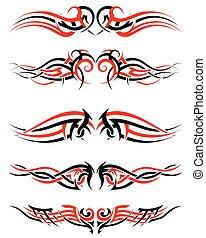 tatouages, tribal, setof