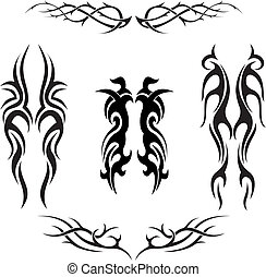 tatouages, tribal, vecteur, ensemble