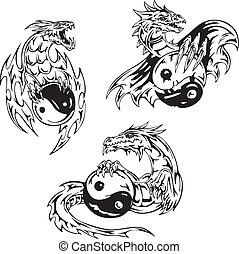 tatouages, yin-yang, dragon, signes