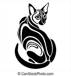 tatovering, ægyptisk, sort, affattelseen, kat