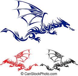 tatovering, dragon., asiat