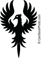 tatovering, fugl, phoenix