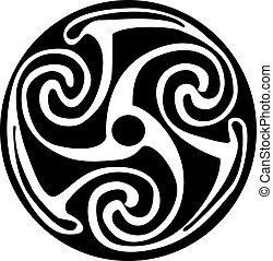 tatovering, keltiskt symbol, -, artwork, eller