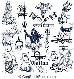 tatovering, kunst, shiva, samling, konstruktion, lord