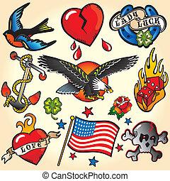 tatovering, retro, iconerne
