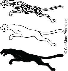 tatovering, silhuet, kunst, jaguar