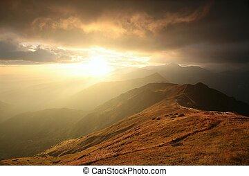 tatra, montañas, en, salida del sol