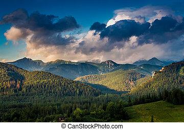 Tatra mountains at sunset in Zakopane, Poland, Europe