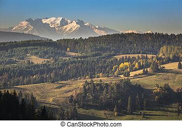 Tatra mountains in rural scene, Poland