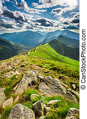 Tatra Mountains peaks in sunny day, Poland, Europe