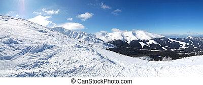 tatras, área, jasna, esqui, passeio, livre, panorâmico, eslováquia, baixo, recurso, vista