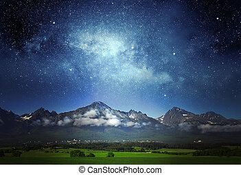 tatras, 在上方, 乳狀, 天空, 方式, 夜晚, 山。