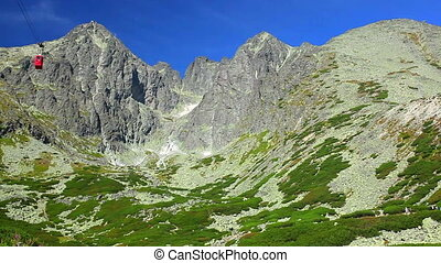 Tatras mountains in Slovakia panorama view and cableway