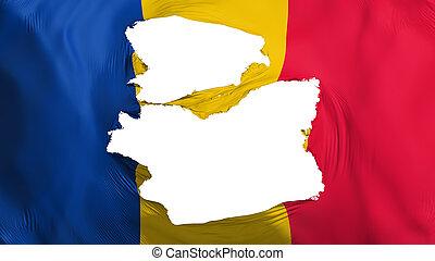 Tattered Chad flag, white background, 3d rendering