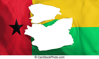 Tattered Guinea Bissau flag, white background, 3d rendering