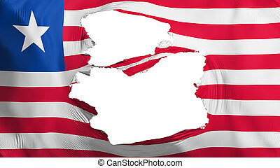 Tattered Liberia flag, white background, 3d rendering