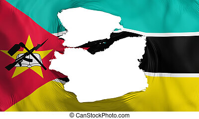 Tattered Mozambique flag, white background, 3d rendering