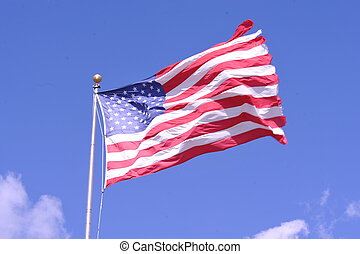 Tattered Old Glory - Tattered United States Flag On Windy...