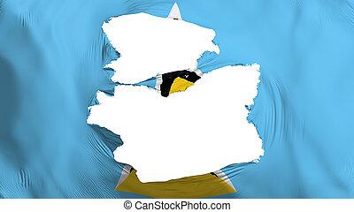 Tattered Saint Lucia flag, white background, 3d rendering