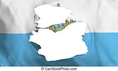 Tattered San Marino flag, white background, 3d rendering