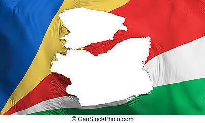 Tattered Seychelles flag, white background, 3d rendering