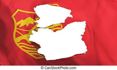 Tattered Skopje city flag - Tattered Skopje city, capital of...