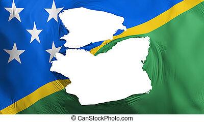 Tattered Solomon Islands flag, white background, 3d ...