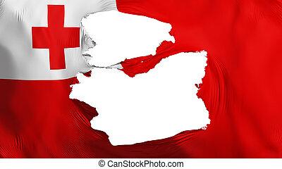 Tattered Tonga flag, white background, 3d rendering