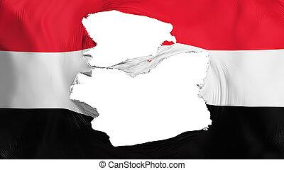Tattered Yemen flag, white background, 3d rendering