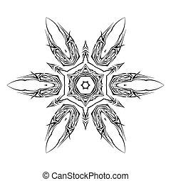 Tatto shuriken - Sketch of tattoo as shuriken on the white...