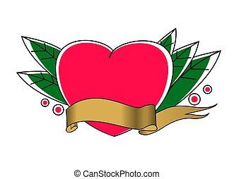 Tatto vector illustration. Heart with ribbon