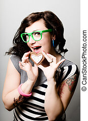tattoed pinup girl with heart biscuit