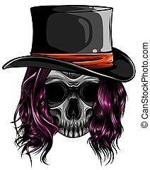 tattoo., ギャング, 葉巻き, 帽子, 死, 頭骨, ベクトル, 頭
