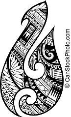 tattoo., シンボル, maori, スタイル, fish, 原生, ホック
