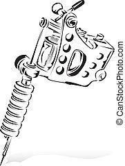 Tattoo - A simple sketch of a tattoo machine.