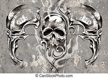 Tattoo art, 3 skulls over grey background, Sketch