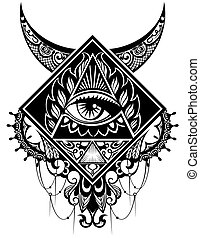Eye of Providence. Religion, spirituality, occultism, tattoo art