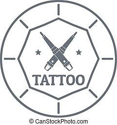 Tattoo art logo, simple gray style