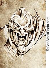 Tattoo art, sketch of a fantasy warrior, future knight