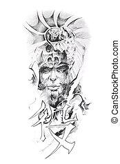 Tattoo art, sketch of a japanese warrior