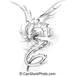 Tattoo art, sketch of a medieval dragon