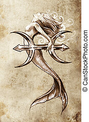 Tattoo art, sketch of a mermaid, pisces vintage style