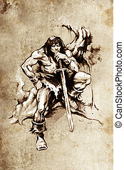 Tattoo art, sketch of a  warrior with big sword